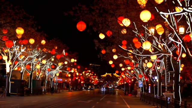 view of cityscape at night during chinese spring festival,xi'an,china. - avenue stock videos & royalty-free footage