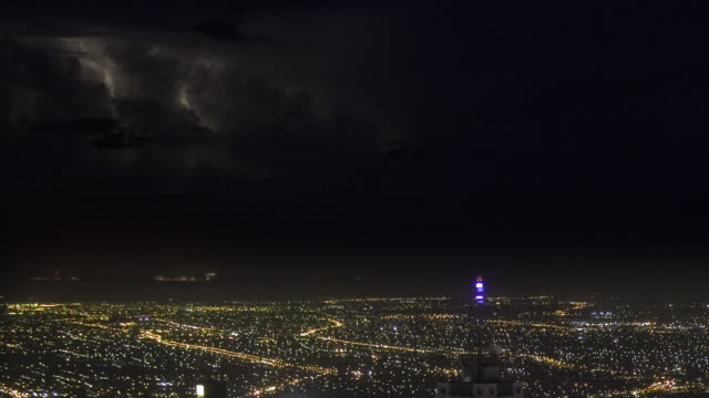 ws zo t/l view of cityscape at night towards thunderstorm with lightning / melbourne, victoria, australia - weather stock videos & royalty-free footage