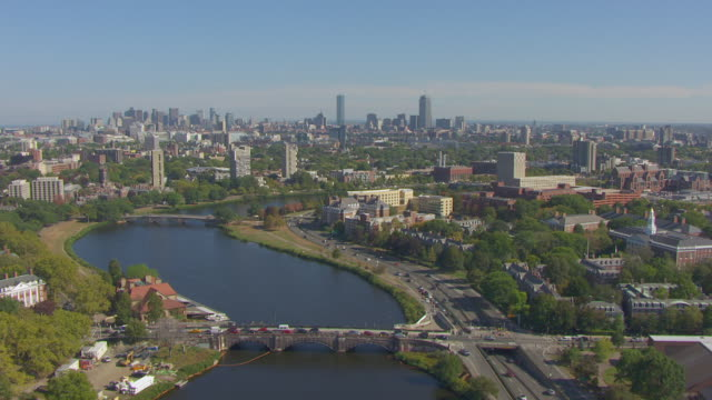 WS AERIAL POV View of cityscape bridge on Charles River / Boston, Massachusetts, United States