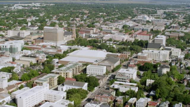 WS AERIAL POV View of cityscape / Charleston, South Carolina, United States
