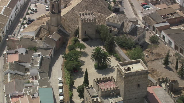 ws zo pov aerial view of cityscape / espejo, andalusia, spain - espejo stock videos and b-roll footage