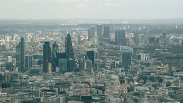 WS AERIAL POV View of cityscape / London, England, United Kingdom