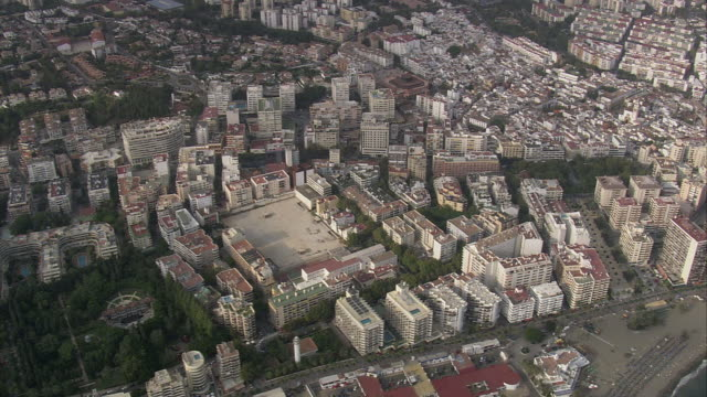 WS POV AERIAL View of cityscape / Marbella, Andalusia, Spain