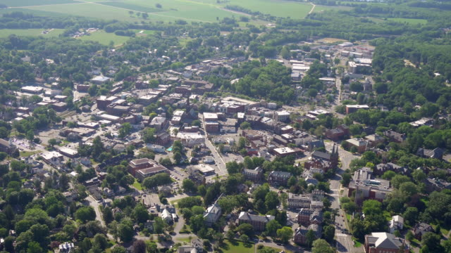 ws aerial pov view of cityscape / northampton, massachusetts, united states - northampton stock-videos und b-roll-filmmaterial