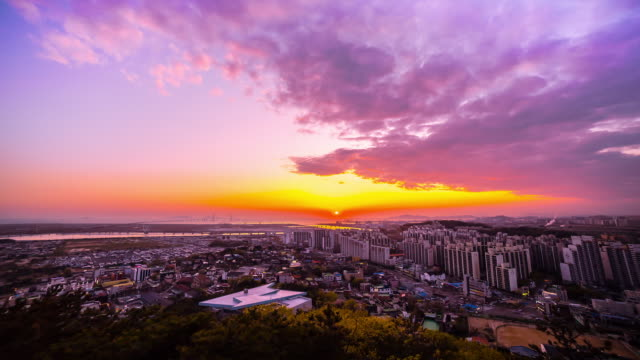 WS T/L View of Cityscape of Incheon from Cheongryangsan Mountaintop / Incheon, South Korea