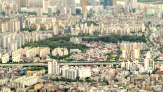 vídeos y material grabado en eventos de stock de view of cityscape of jamsil in diorama effect - tilt shift