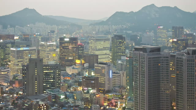WS T/L View of Cityscape of Myeong Dong / Seoul, South Korea
