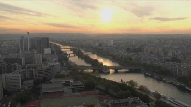 WS View of cityscape of Paris at dusk / Paris, Ile de France, France