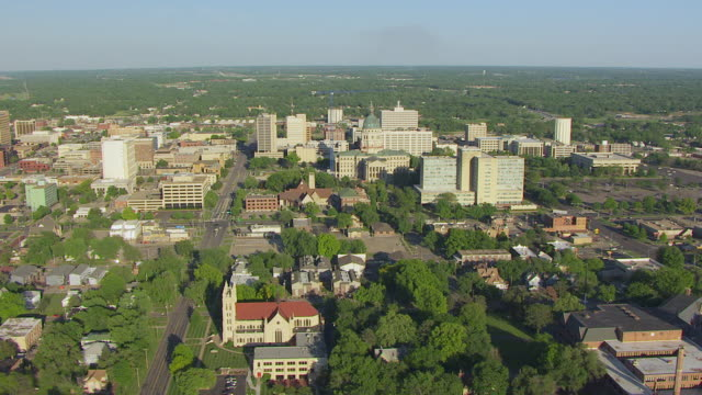 ws aerial view of cityscape / topeka, kansas, united states - kansas stock videos & royalty-free footage