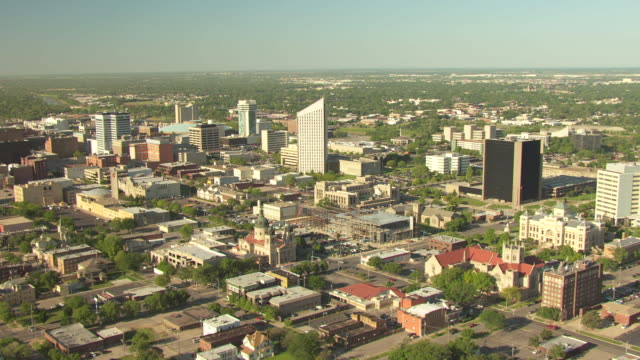 ws aerial view of cityscape / wichita, kansas, united states - kansas stock videos & royalty-free footage