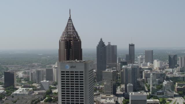 WS AERIAL POV View of cityscape with Bank of America Plaza / Atlanta, Georgia, United States