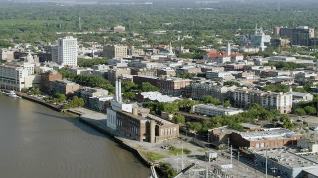 ws aerial pov view of cityscape with bridge in foreground / savannah, georgia, united states - savannah georgia stock videos & royalty-free footage