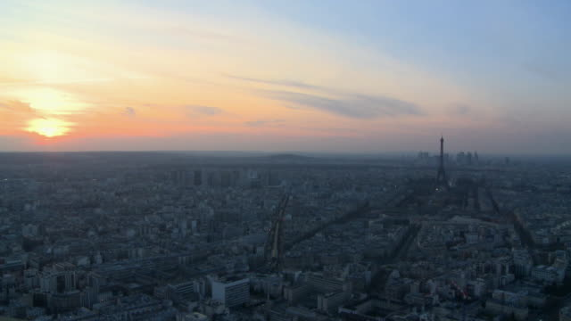 WS View of cityscape with Eiffel Tower at dusk / Paris, Ill de France, France