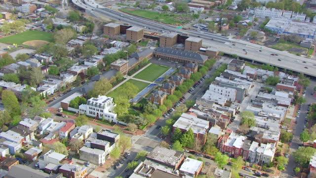 ws aerial pov view of cityscape with marine barracks / washington dc, united states  - barracks stock videos & royalty-free footage