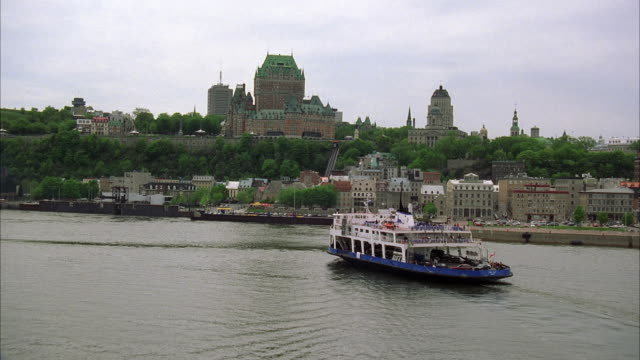WS TU POV AERIAL View of cityscape with old castles / Quebec City, Quebec, Canada