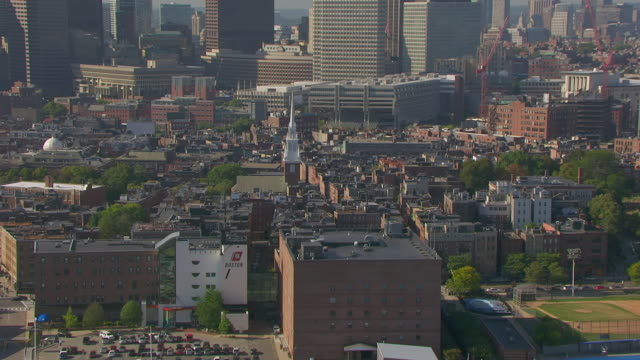 ws aerial pov view of cityscape with old north church / north end, boston, massachusetts, united states - old north church stock videos & royalty-free footage