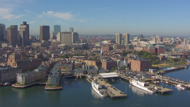 ws aerial pov view of cityscape with old north church / north end, boston, massachusetts, united states - boston massachusetts stock videos & royalty-free footage