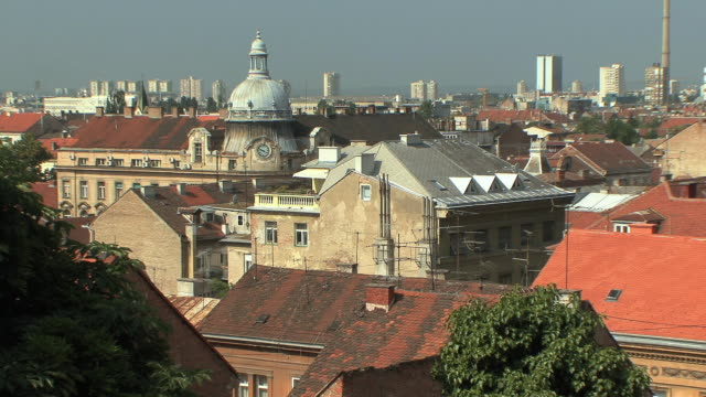 ws view of cityscape / zagreb, croatia - zagreb stock videos & royalty-free footage