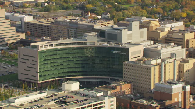 WS TS ZI AERIAL View of Cleveland Clinic building and sign on building / Cleveland, Ohio, United States