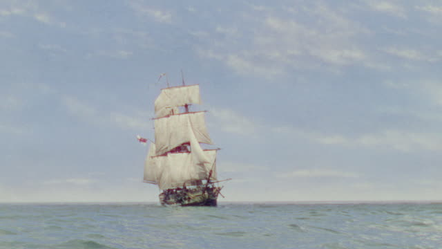 ws view of clipper ship in ocean - nave a vela video stock e b–roll