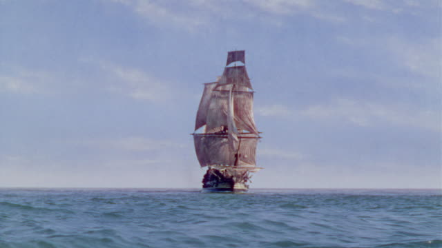 ws view of clipper ship in ocean - sailing ship stock videos & royalty-free footage
