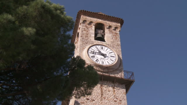 MS View of clock and bell on old church / Cannes, Provence-Alpes- Cote d'Azur, France