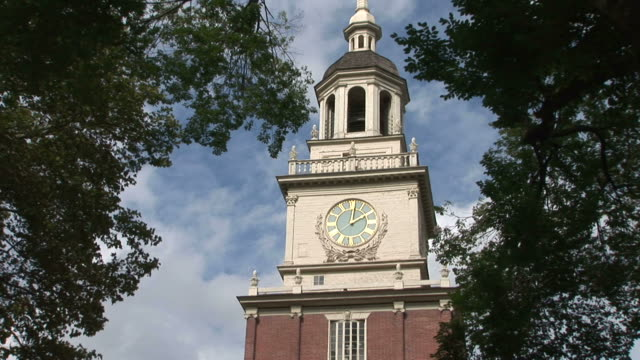 view of clock in independence hall philadelphia united states - independence hall stock videos and b-roll footage
