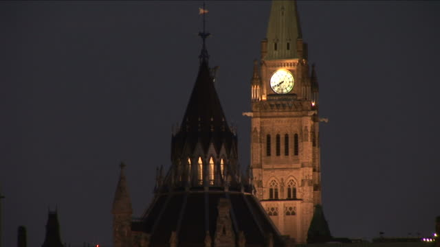 View of clock in Peace tower of Parliament hill Ottawa Canada