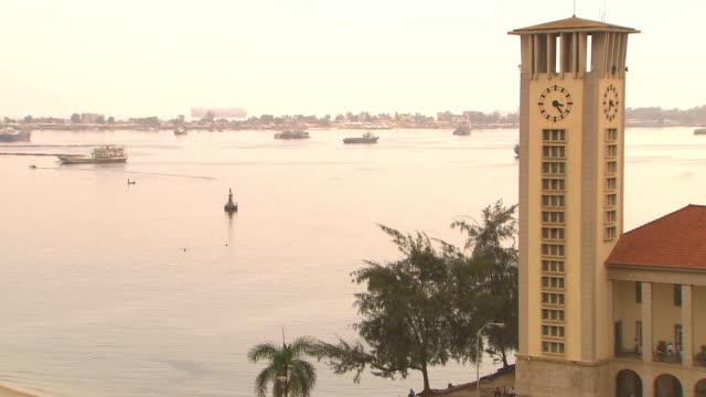 MS View of clock on church tower / Luanda, Angola