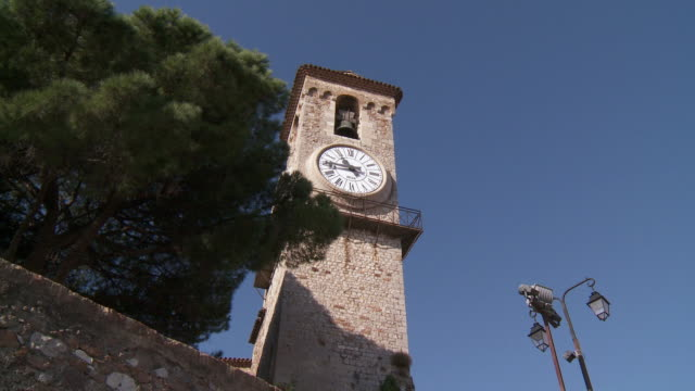 MS View of clock on old church wall / Cannes, Provence-Alpes- Cote d'Azur, France
