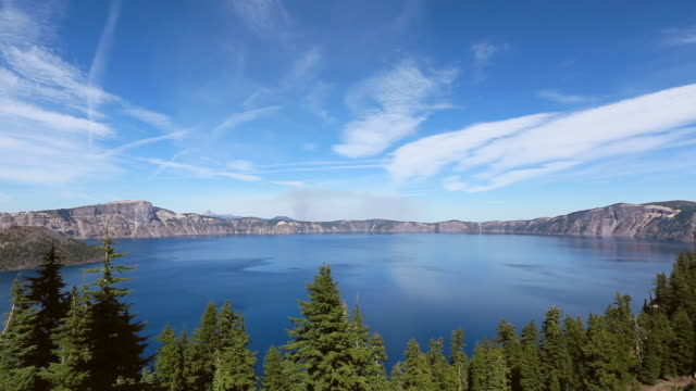 ws t/l view of cloud over the crater lake / klamath county, oregon, united states - crater lake oregon stock videos & royalty-free footage