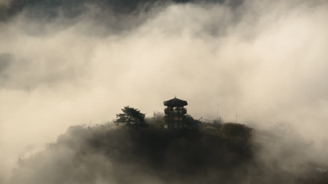 stockvideo's en b-roll-footage met view of cloud sea and a gazebo at okjeongho lake - gazebo