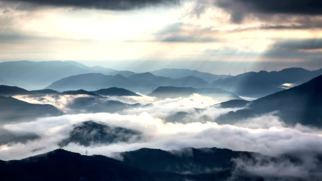 View of cloud sea in Hambaeksan Mountain in the morning (One of the most popular hikes in Korea)