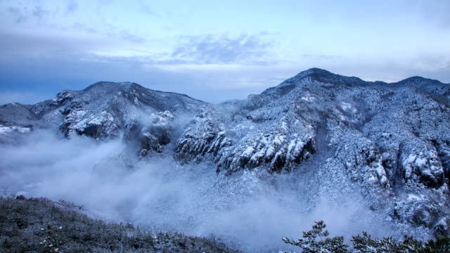 view of cloud sea over snowcapped juwangsan national park, south korea - north gyeongsang province stock videos & royalty-free footage