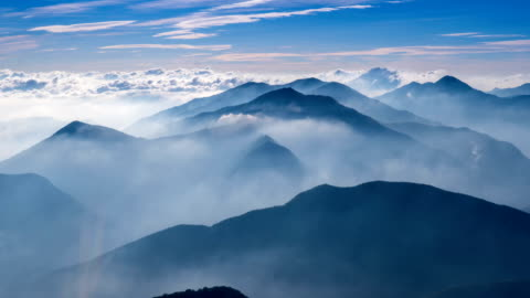 view of clouds over woraksan mountain national park, south korea - mountain stock videos & royalty-free footage