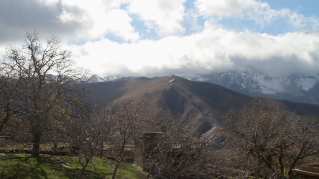 ws view of clouds rolling over atlas mountains with trees / marrakech, tensift, morocco  - wiese点の映像素材/bロール