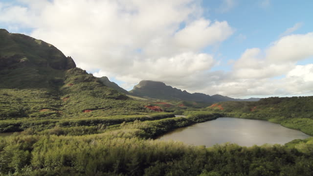 ws pan view of clouds rolling over landscape of forest and covered hills with small lake below / kauai, hawaii, united states - wiese stock videos & royalty-free footage