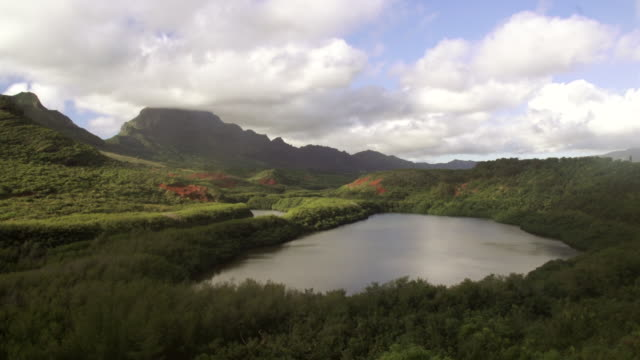 ws view of clouds rolling over landscape of forest covered hills with small lake below / kauai, hawaii, united states - wiese stock videos & royalty-free footage