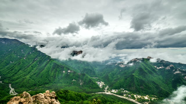View of cloudscape and mountain peak of Seoraksan (famous tourist attraction)