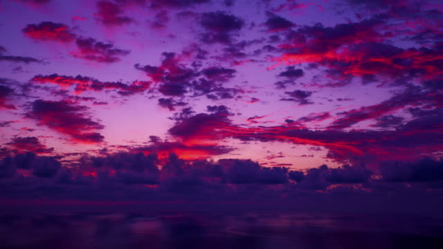 ws t/l view of cloudscape at sun rising / ulleung, gyeongsangbuk do, south korea - red cloud sky stock videos & royalty-free footage