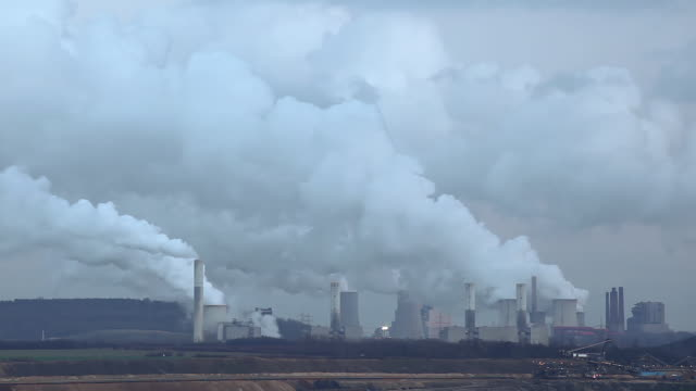 WS T/L View of Coal power stations / Grevenbroich, North Rhine-Westphalia, Germany