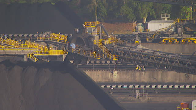 ms aerial ts view of coal stock at coal industry / queensland, australia - mining stock videos & royalty-free footage