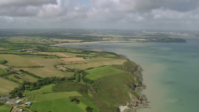 ws aerial view of coast east of saint brieuc and city / brittany, channel isles - bretagna video stock e b–roll