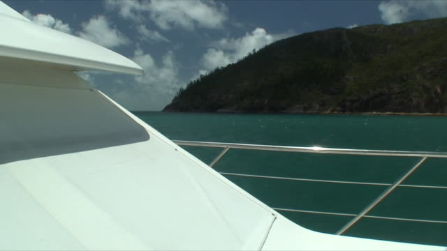 MS POV View of coast from boat, Whitsunday Islands, Queensland, Australia