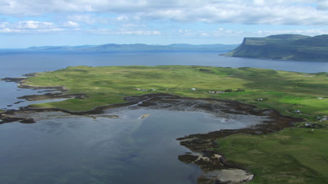 WS AERIAL View of coast of Isle of Mull moving over forest and isolated houses and towards cliffs made of old lava flows / Isle or island of Mull, Argyll and Bute, Scotland