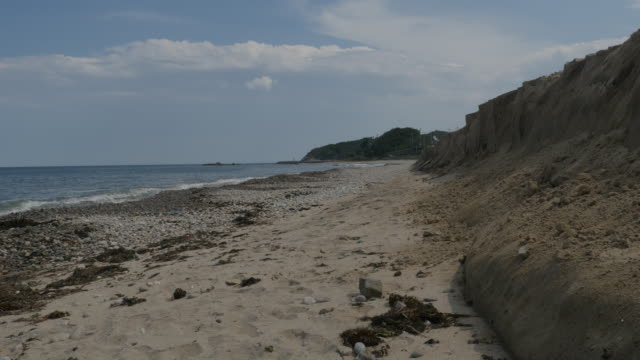 stockvideo's en b-roll-footage met view of coastal feature with sand dune and waves - coastal feature