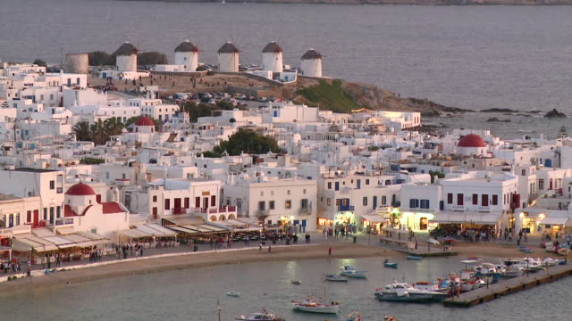 ws ha view of coastal town / mykonos, cyclades, greece - mykonos stock videos and b-roll footage