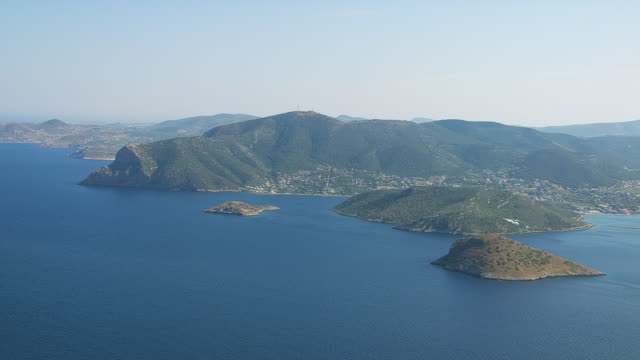ws aerial view of coastline near athens and tinos / athens, attica, greece - athens greece stock videos and b-roll footage