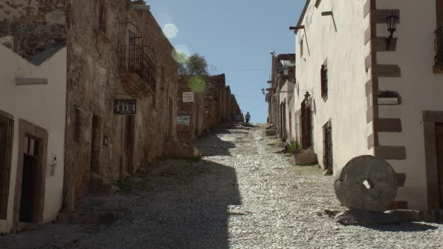 WS View of cobblestone street / Real de Catorce, San Luis Potosi, Mexico