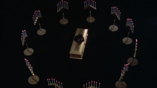 ms zi zo view of coffin several candelabras surrounding - coffin stock videos & royalty-free footage